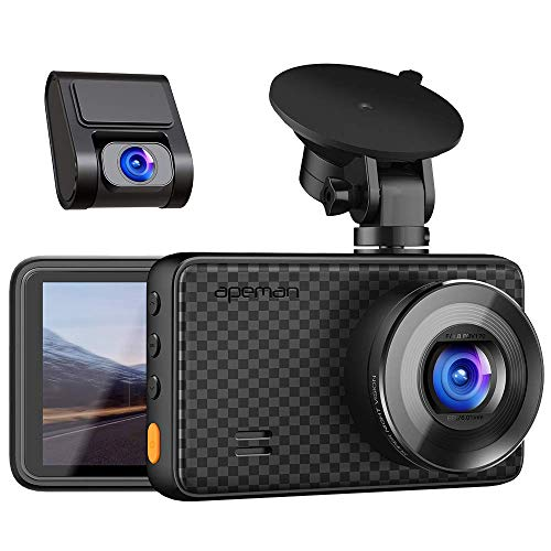 APEMAN 1440P&1080P Dual Dash Cam, 1520P max, Front and Rear Camera for Cars with 3 Inch IPS Screen, Support 128GB, Driving Recorder with IR Sensor Night Vision, Motion Detection, Parking Monitor (Camera For Back Of Car)