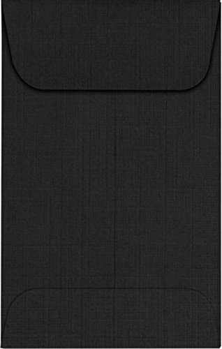 #1 Coin Envelopes (2 1/4 x 3 1/2) - Black Linen (1000 Qty.) | Perfect for the HOLIDAYS, Weddings, Parties & Place Cards | Fits Small Parts, Stamps, Jewelry, Seeds | 1CO-BLI-1M by Envelopes.com