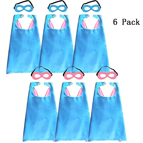 Kids Superhero Capes and Masks Halloween Dress up for Girls Super Hero Party Favors Blue-Pink]()