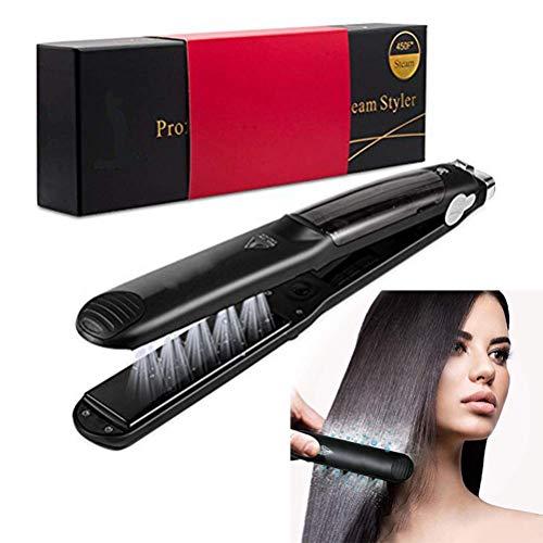 Professional Steam Hair Straightener by BeautyCC - Steam Styler Ceramic Tourmaline Flat Iron Salon Heater Hair Straightening Iron with Anion Care