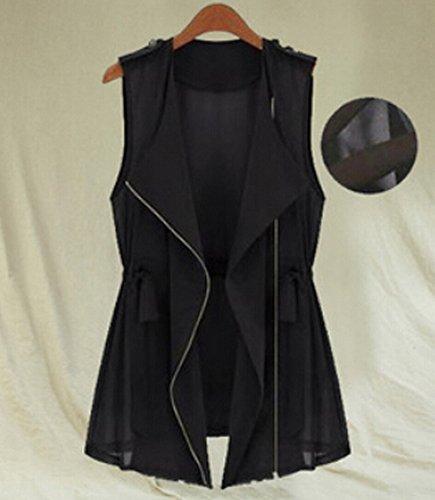 デコレーションユーザー低い夏ジッパーアーミーグリーンジャケット_black_M(着丈70cm、胸90cm、肩幅38cm)