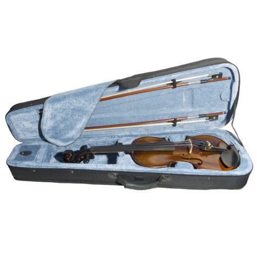 Mendini 1/2 MV500 Flamed 1-Piece Back Solid Wood Violin with Case, Tuner, Shoulder Rest, Bow, Rosin, Bridge and Strings