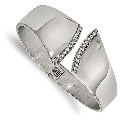 b9ce461a9ed7 30 mm acero inoxidable pulido con bisagras pulsera brazalete CZ - JewelryWeb  80% OFF
