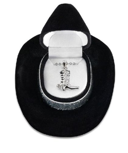 "Special -Sterling Plated Boot Necklace, Cowboy Hat Gift Box 16""-18"" Chain"