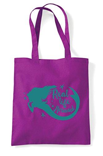 Mermaid Real Shopper Life Bag Tote Magenta Statement Bw75wf