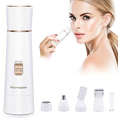 Facial Hair Removal for Women Waterproof Painless 4 in 1 Hair Removal Kit Included Facial Shaver, Nose Trimmer, Eyebrow Trimmer, Body Shaver, 2019 New Electric Hair Removal with USB Charging for Women