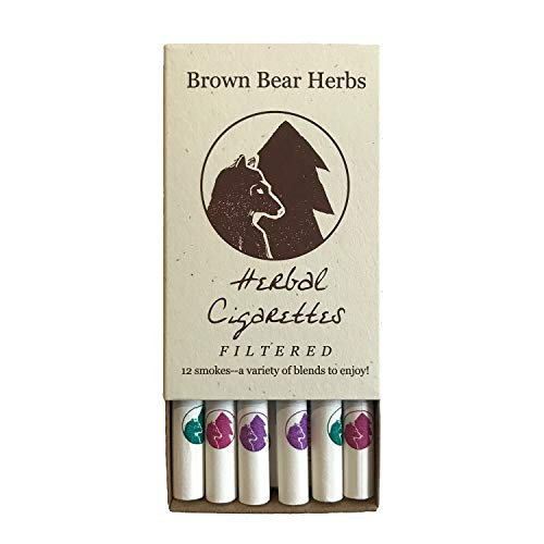 Brown Bear Herbs Herbal Cigarettes, Filtered Sampler Pack, Organic Herbal Smoking Blend, no Nicotine, no Tobacco, Organic, USA