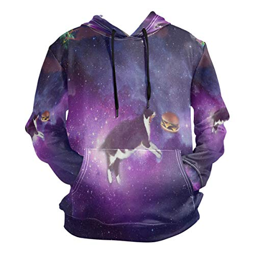 Purple Star Cat and Burger Hoodie 3D Pullover Hooded Long Sleeve Workout Sweatshirts (D&g Frauen)