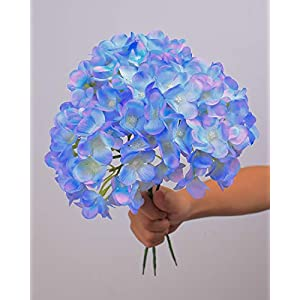 LUSHIDI Silk Hydrangea Heads with Stems Artificial Flowers Heads for Home Wedding Decor,Pack of 10 2