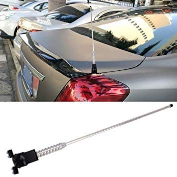 Uniqus PS-411 Universal Car Auto Modified Decoration Extensile Aerial Glass-Mount Cellular Antenna (Silver)