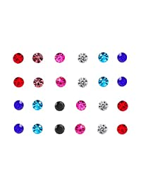 Spiritlele 12 Pairs Colors Crystal Magnetic Stud Earrings Set CZ Non Piercing Earrings Pack