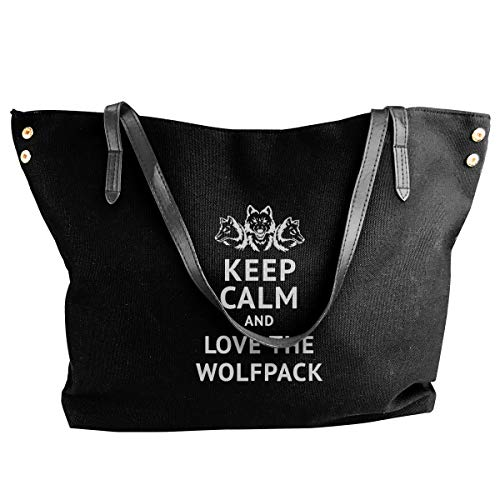 (Canvas Tote Bag Keep Calm And Love The Wolfpack Totes Purse Handbags Shoulder Bags For Women)