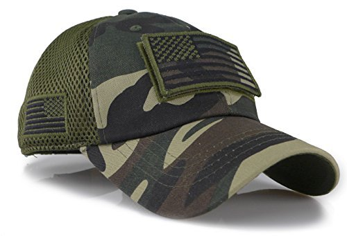 Camouflage Constructed Trucker Special Tactical Operator Forces USA Flag Patch Baseball Cap (Woodland) ()