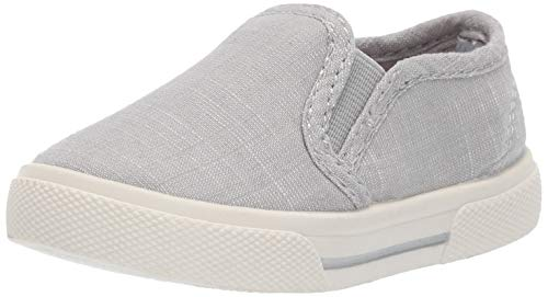 (carter's Boys' Damon Casual Slip-on Sneaker Skate Shoe, Light Grey, 6 M US Toddler)