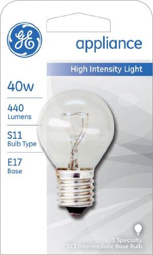 GE Appliance Incandescent Light Bulb, S11 Light Bulb, 40-Watt, 440 Lumen, E17 Base, White, 1-Pack, Microwave Light Bulb, Appliance Light Bulb