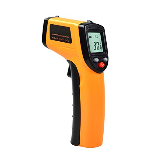 Temperature Gun Digital Laser Infrared Thermometer Bright LCD Display with LED Backlight -58°F to 716°F (-50 ~ 380℃) Instant-read (Infrared Unit Patch)