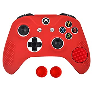 Antil-Slip Silicone Controller Cover Protective Case for Xbox One S Slim/Xbox One X Controller Soft Cover Skin with 2 Thumb Grips(Red)