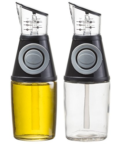homequip-85-oz-olive-oil-glass-dispenser-pump-with-measuring-cup-2pk-drip-free-pouring-spout-bottle-