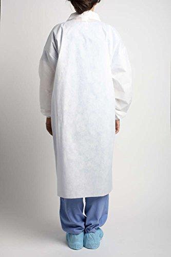 MediChoice Laboratory Coats, Premium, Disposable, Anti-Static, Three-Pocket, Knit Cuff, 5-Snap, Spunbond Meltblown Spunbond, Medium, White (Case of 25) by MediChoice (Image #2)