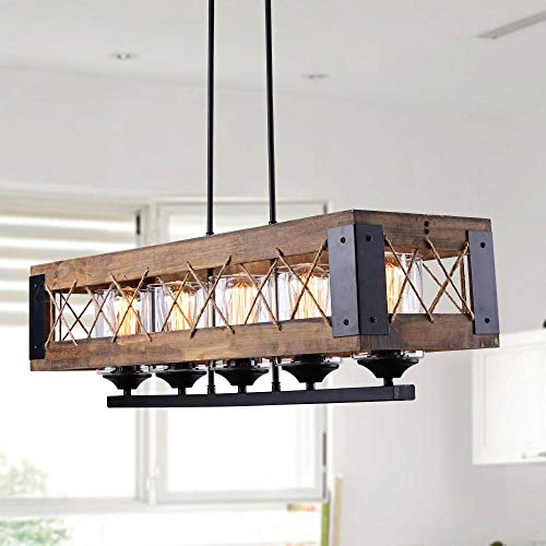 - LALUZ Farmhouse Kitchen Island Wood Hanging Light Fixture A03145, 5 Glass Globes, Linear Chandelier for Dining Rooms