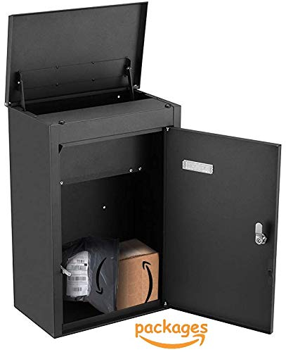 PEELCO Package Wall Mailbox for Porch Delivery - Drop Box - Locking Vertical Modern Mail Box - Fits Medium - Small Packages - Vertical Wall Mount or Freestanding - Rust & Weather Proof - 4 Spare Keys
