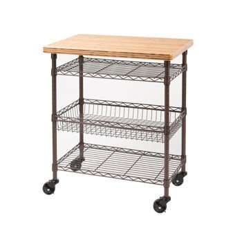 Seville Classics, Professional Chef's Kitchen Cart with Solid Bamboo Top Food Safe, Lacquered Finish