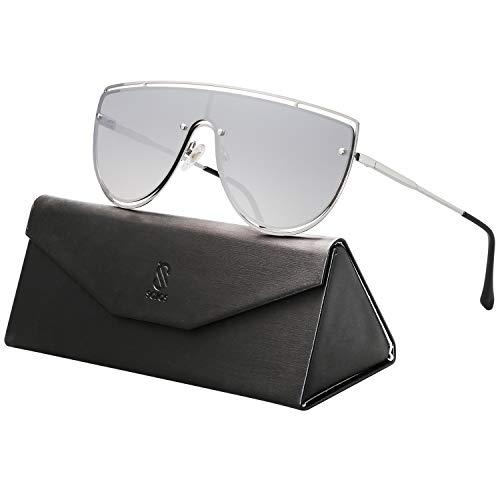 SOJOS Oversized One-piece Shield Sunglasses for Men and Women Mirrored Lens BLUESKY SJ1098 with Silver Frame/Silver Mirrored ()