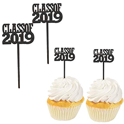 Class of 2019 Graduation Party Decorations - Cupcake topper Food Appetizer Picks -72 pcs -