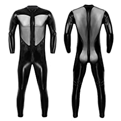 Chictry Mens Wet Look Faux Leather Mesh Bodysuit Leotard Catsuit Long Sleeve Singlet Wrestling Plus Size