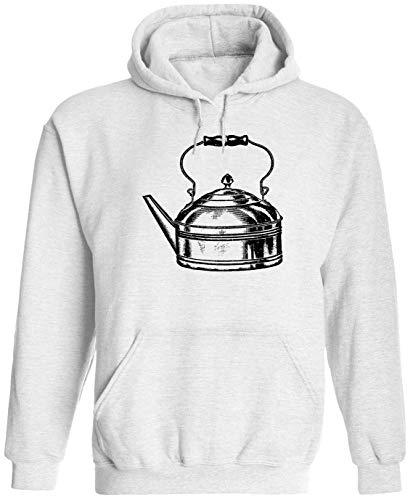 Austin Ink Apparel Steel Tea Pot Unisex Adult Hooded Pullover Sweatshirt, White, XL (Teapot Hood)