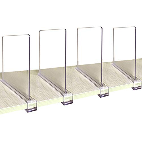 (CY craft Acrylic Shelf Dividers for Closets,Wood Shelf Dividers, 4 PCS Clear Shelf Separators,Perfect for Clothes Organizer and Bedroom Kitchen Cabinets Shelf Storage and Organization)