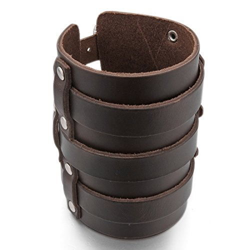INBLUE Men's Alloy Genuine Leather Bracelet Bangle Cuff Silver Tone Brown Black Adjustable by INBLUE (Image #5)
