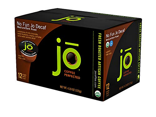 NO FUN JO DECAF: 12 Cup Organic Swiss Water Process Decaffeinated Single Serve Coffee, Eco-Friendly Cup for Kuerig 1.0 & 2.0 K-Cup Brewers, Medium/Dark Roast, Non-GMO, Chemical Free, Gluten Free Decaf