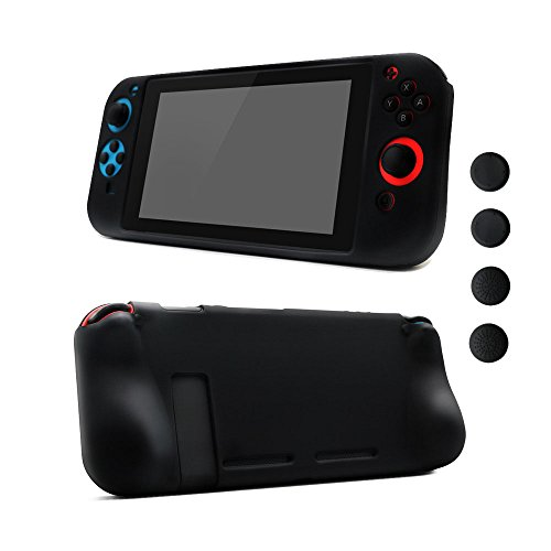 Silicone Skin Comfort Grip Case Anti-Slip Full Body Protective Case Cover for Nintendo Switch Console & Joy-con [4 Thumb Stick Caps][Handles for Gaming], (Black) -