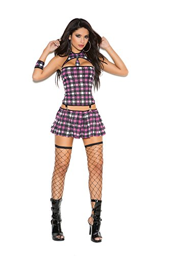 [Sinfully Shy Adult School Girl Halloween Costume 4pc Set (S, Pink Plaid)] (Cheap School Girl Costumes)