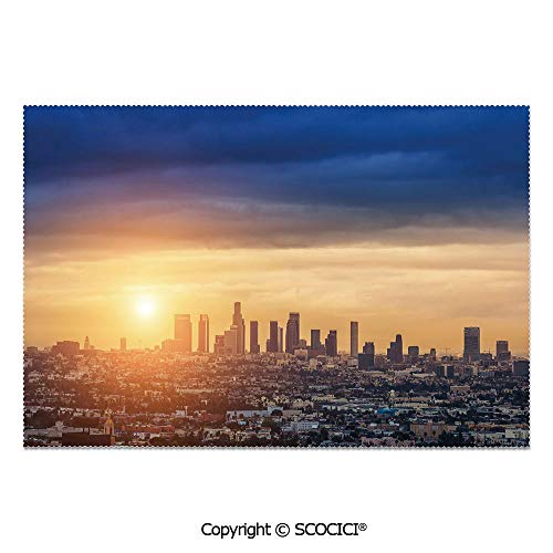 SCOCICI Set of 6 Heat Resistant Non-Slip Table Mats Placemats Sunrise at Los Angeles Urban Architecture Tranquil Scenery Majestic Sky for Dining Kitchen Table Decor -