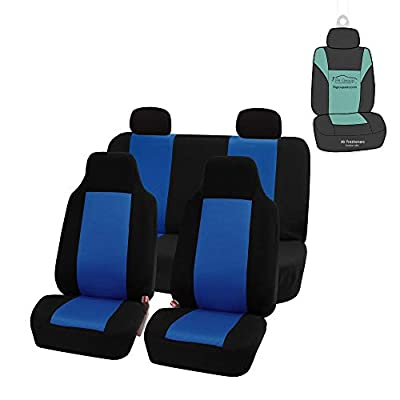 FH Group FB102114 Classic Cloth Seat Covers (Blue) Full Set with Gift – Universal Fit for Cars Trucks & SUVs: Automotive