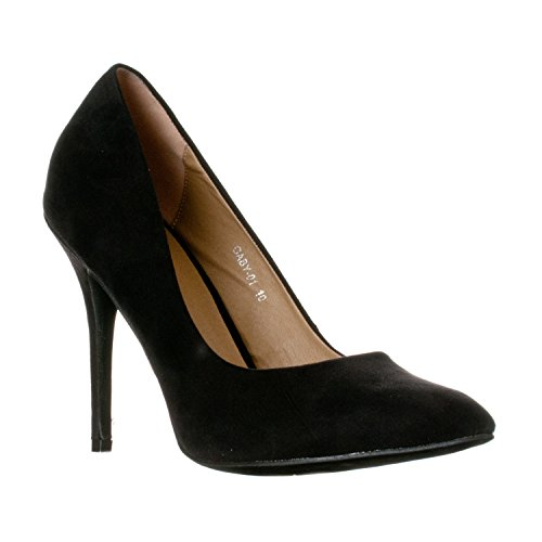 Riverberry Women's Gaby Pointed, Closed Toe Stiletto Pump Heels, Black Suede, 10 ()