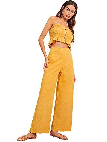 - Floerns Women's Strapless Tube Top and Pants Two Piece Set Yellow-1 XS