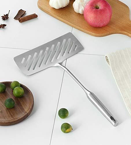 Stone Wordd Fish Spatula Stainless Steel 1 PCS Cooking Tools 304 Stainless Steel Fry Fish Spatula Frying Pan Pancake Steak Flat Spade Shovel Spatula Cooking Tools PT06