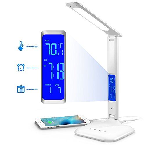 INNOKA UL Certified 180 Degree Adjustable LED Desk Lamp, Table Lamp with 3 Color Temperatures, 5-level Dimmer, Built in LCD Display Temperature, Clock, Calendar with 5V USB Charging Port