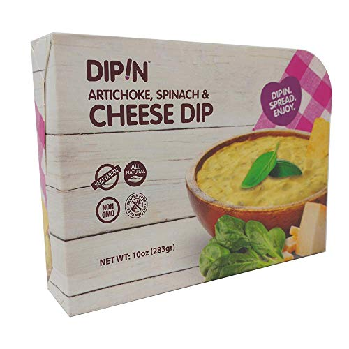 DIPIN - Artichoke, Spinach & Cheese Dip | All Natural | Vegetarian | Non - GMO | Gluten Free | Healthy Snack | Low Calorie | 10 oz. 2 Pack