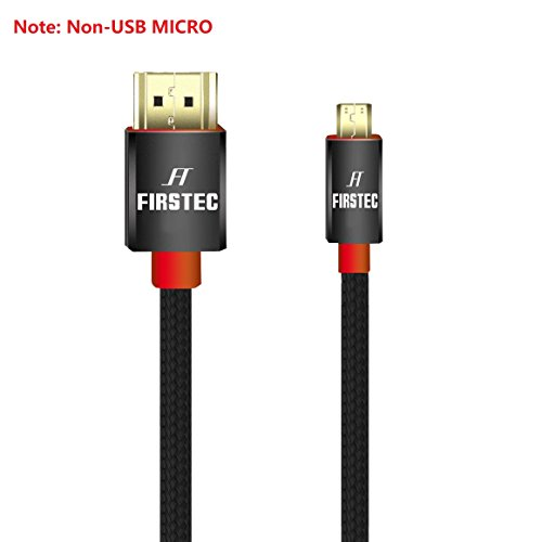High Speed Micro-HDMI Cable FIRSTEC Type A to Type D HQ Full HD HDMI Cable v2.0/ HD Ready / 1.4a / 3D / 2160p PS4 SKY HD 4K Ultra HD Ethernet Audio Return - Micro HDMI to HDMI Cable (1M/3FT)