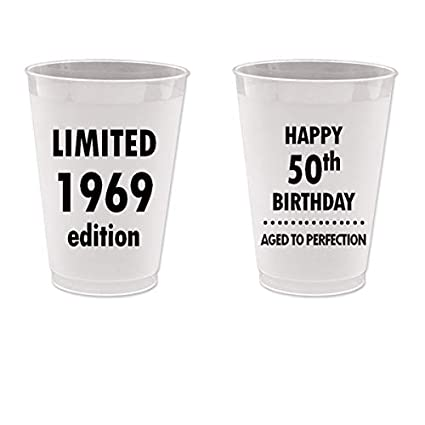 Mandeville Party Company 10 count Frost Flex Plastic Cups, Happy 50th  Birthday - Limited 1969 Edition, Aged to Perfection