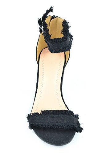 Chase & Chloe Maise-1 Sandalo Con Tacco Donna Con Design Rifinito E Chiusura Con Cinturino Alla Caviglia Nero