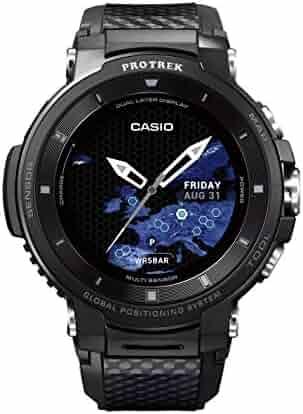 Casio Pro Trek Quartz Stainless Steel and Resin Watch, Color:Black (Model: WSD-F30-BKAAU