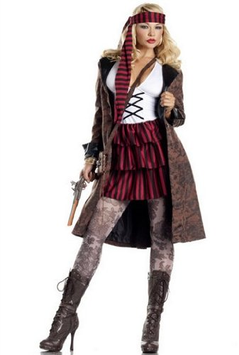 Provocative Costumes (Be Wicked Costumes Women's Provocative Pirate Costume, Brown/Red/Black/White, Medium/Large)