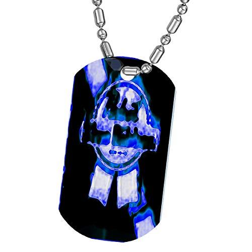 Angel Indigo Blue Ribbon Clear Dog Tag Necklace/Keychain Pendant/Luggage Tag