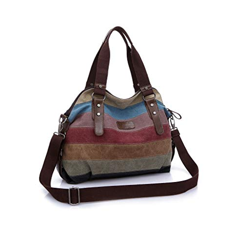 - Canvas Shoulder Bags for Women Multi-Color Casual Messenger Bags Shopping Tote Handbags