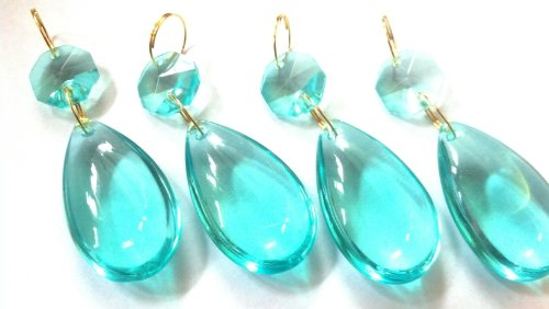 Chandelier Crystal 38mm Antique Green (light aqua) Smooth Almond Prism Teardrop Aquamarine Pack of 4 Aquamarine Crystal Chandelier